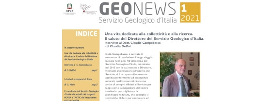 Geonews, the newsletter of the Geological Survey of Italy of the ISPRA, n. 1/2021, is online